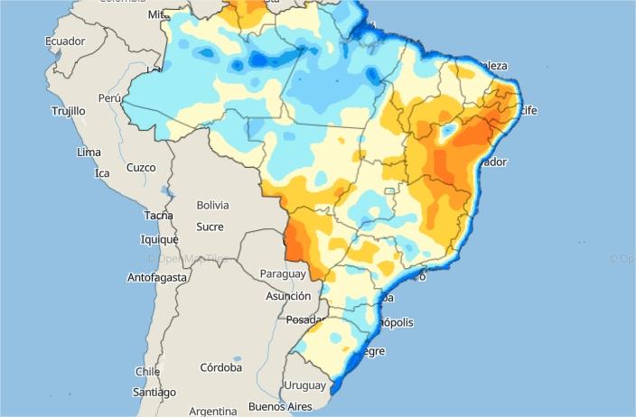 Mapa de água disponível no solo em todo o Brasil - Fonte: Inmet