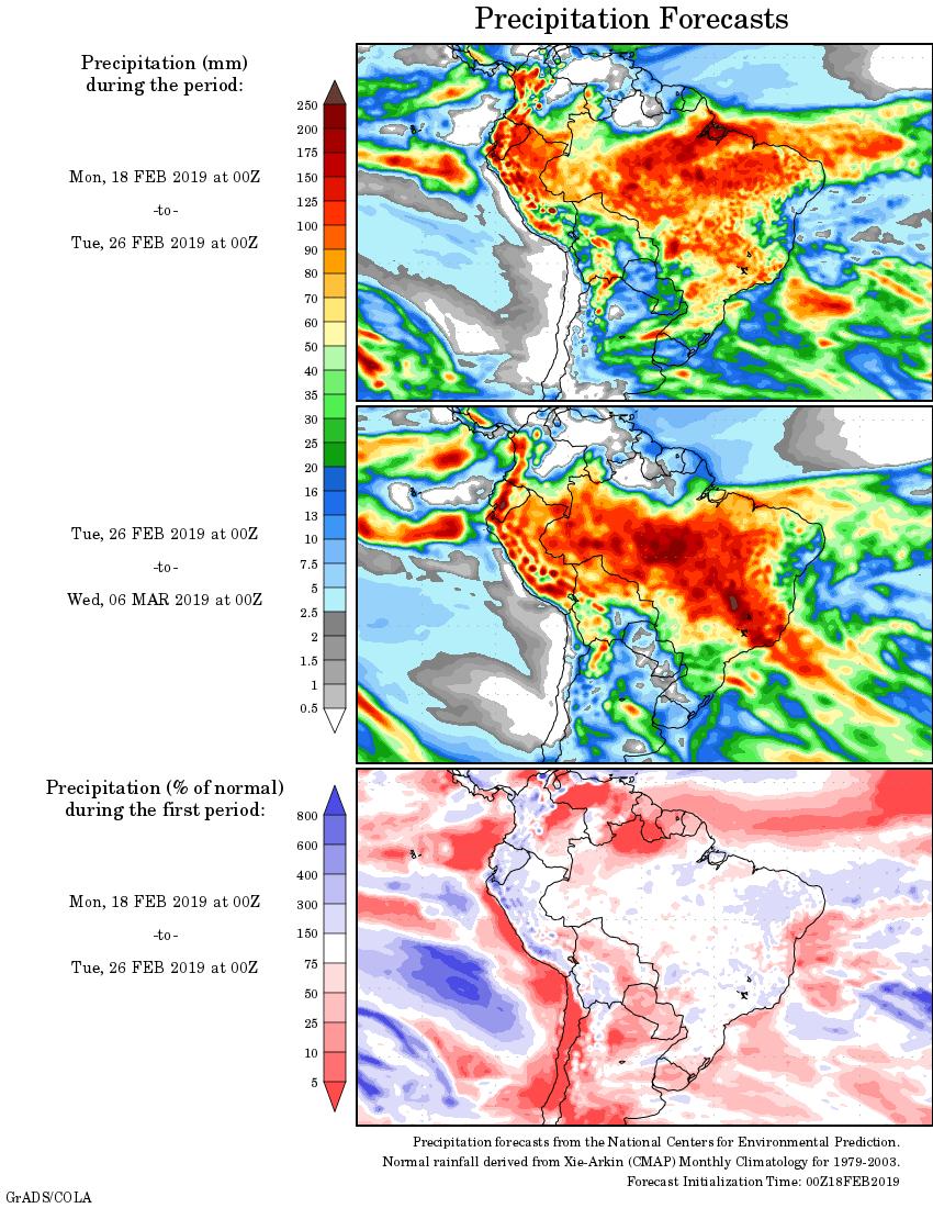 Mapa com a tendência de precipitação acumulada para o período de 18 de fevereiro até 06 de março - Fonte: National Centers for Environmental Prediction/NOAA