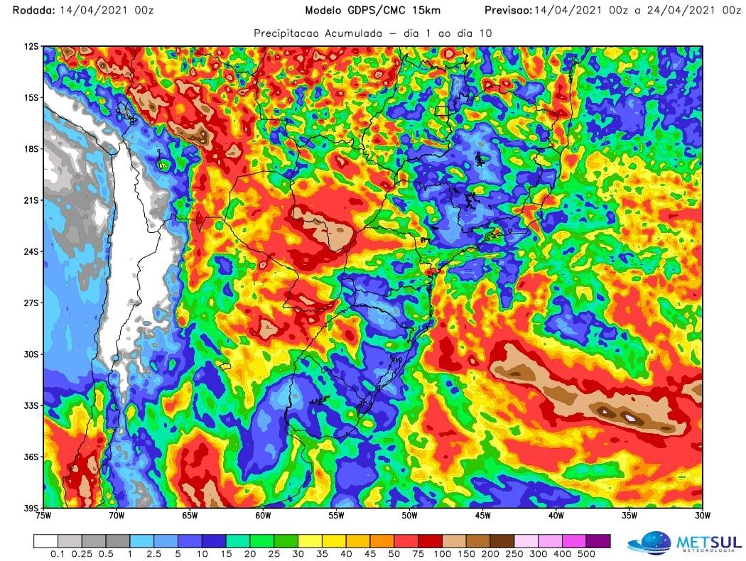 Mapa com a previsão de chuva para os próximos 10 dias do modelo CMC (chuvas alcançando MS e PR) - Fonte: MetSul