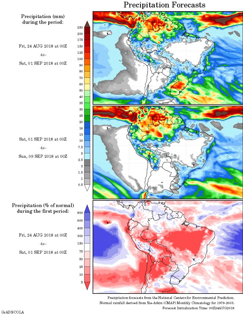 Mapa com a precipitação acumulada para o período de 24 de agosto até 09 de setembro - Fonte: Inmet