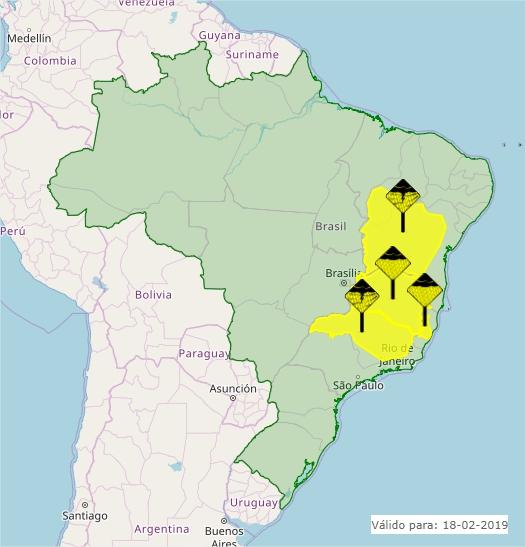 Mapa das áreas com alerta nesta 2ª feira - Fonte: Inmet