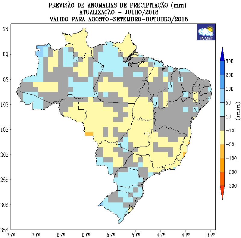 Mapa de previsão de anomalias de precipitação nos próximos meses em todo o Brasil - Fonte: Inmet