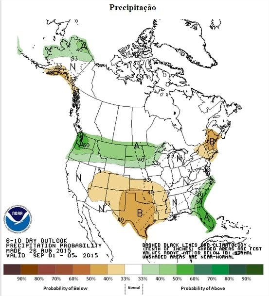 Chuva prevista nos EUA entre os dias 1 a 5 de setembro - Fonte: NOAA