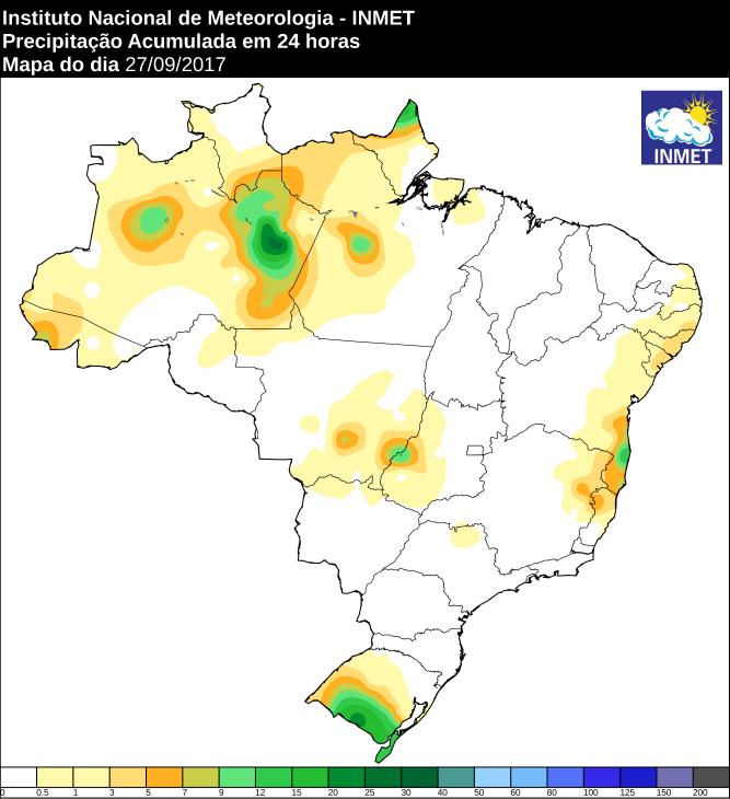 Mapa de precipitação acumulada no Brasil 27/09 - Fonte: Inmet