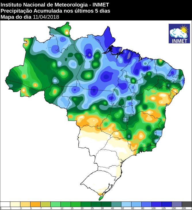 Mapa com a precipitação acumulada em todo o Brasil nos últimos cinco dias - Fonte: Inmet