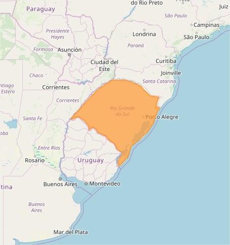 Mapa das áreas com previsão de tempestade nesta 5ª feira - Fonte: Inmet