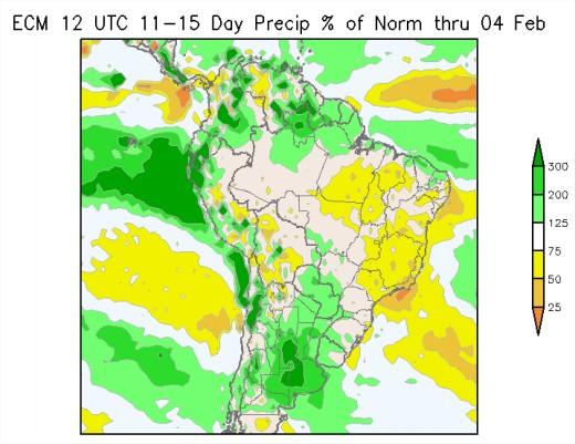Previsão de Chuvas América do Sul Fevereiro - Fonte: AgResource