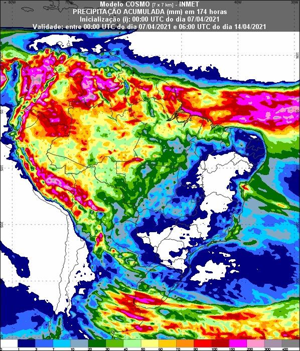 Mapa com a previsão de chuva para os próximos 7 dias em todo o Brasil - Fonte: Inmet