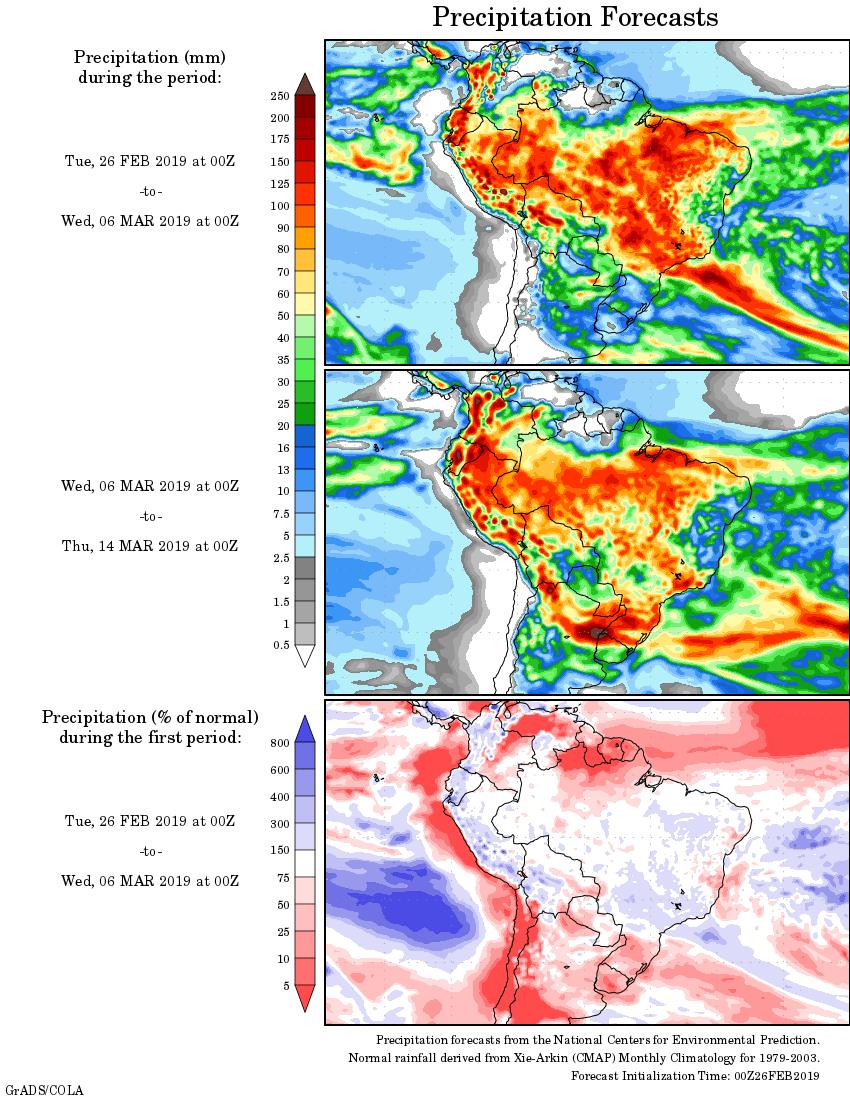 Mapa com a tendência de precipitação acumulada para o período de 26 de fevereiro até 14 de março - Fonte: National Centers for Environmental Prediction/NOAA