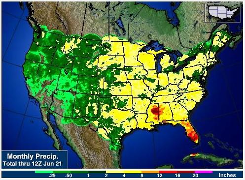Chuvas nos EUA - 30 Dias