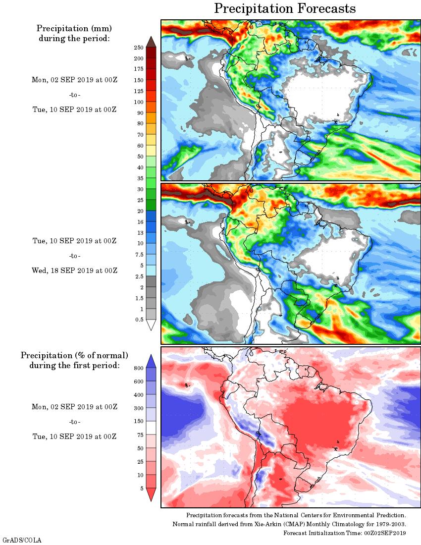 Mapa com a tendência de precipitação acumulada para o período de 02 até 18 de setembro - Fonte: National Centers for Environmental Prediction/NOAA