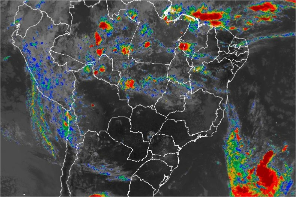 Imagem de satélite de todo o Brasil nesta sexta-feira (08) - Fonte: Inmet