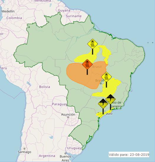 Mapa das áreas com alertas nesta sexta-feira em todo o Brasil - Fonte: Inmet