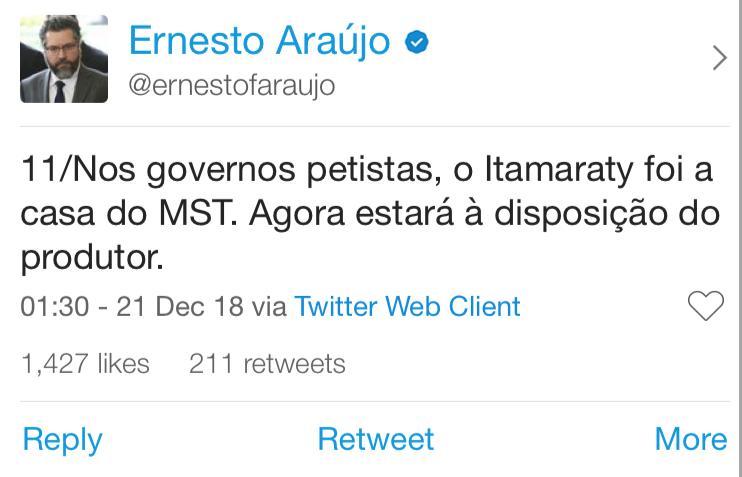 twitter do ernesto araujo 11