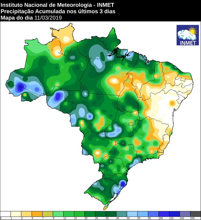 Mapa com a precipitação acumulada nos últimos 3 dias no Brasil - Fonte: Inmet