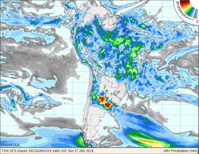 Mapa de previsão de precipitação do modelo GFS 24 horas para os próximos 3 dias em todo o Brasil - Fonte: COLA