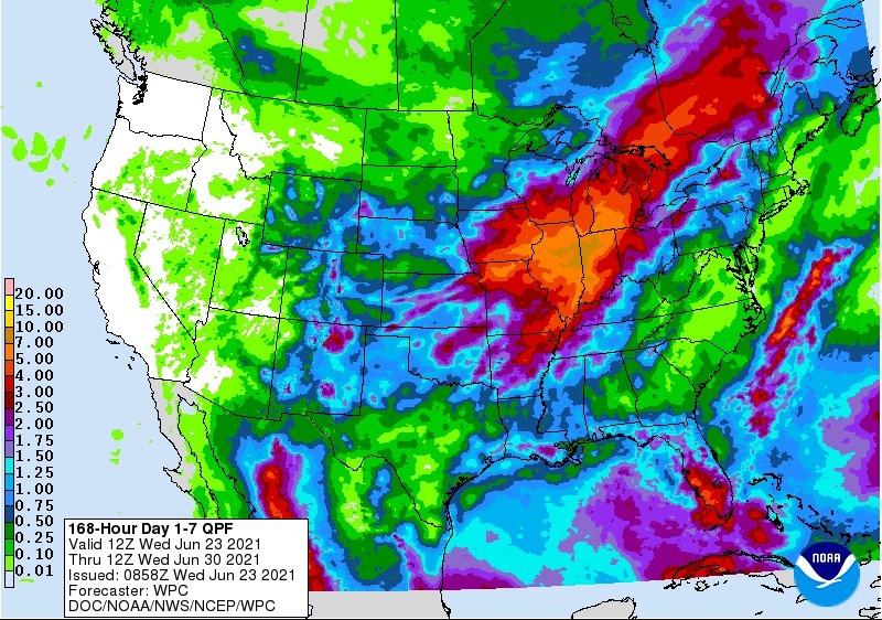Chuvas EUA 7 dias - Fonte: NOAA