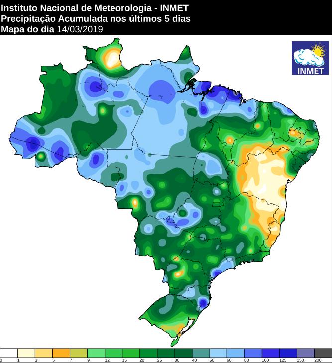 Mapa com a precipitação acumulada nos últimos 5 dias no Brasil - Fonte: Inmet