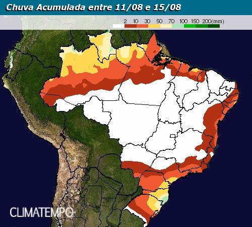 Chuva acumulada entre 11 e 15 de agosto