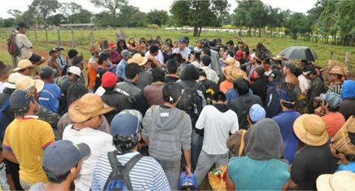 Ocupação dos indígenas em fazendas de Sidrolândia, MS