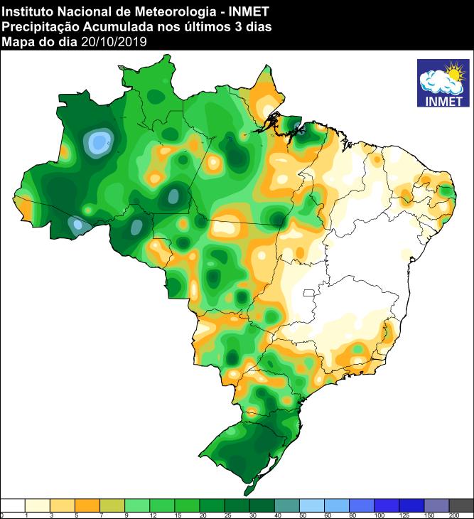 Mapa de precipitação acumulada dos últimos três dias em todo o Brasil - Fonte: Inmet