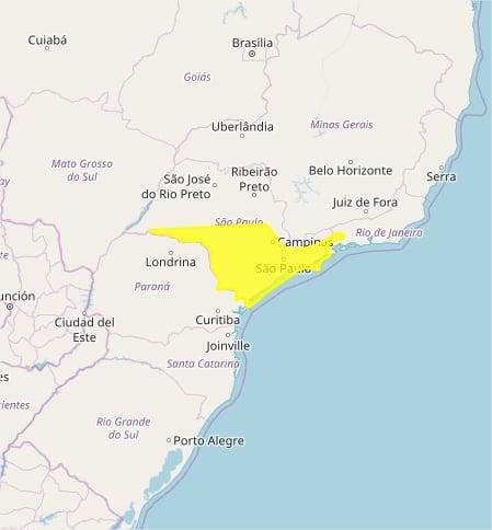 Mapa das áreas com alerta nesta 5ª feira - Inmet