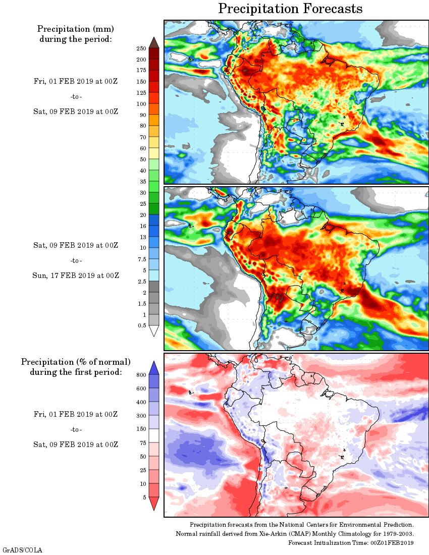 Mapa com a tendência de precipitação acumulada para o período de 01 de fevereiro até 17 de fevereiro - Fonte: National Centers for Environmental Prediction/NOAA