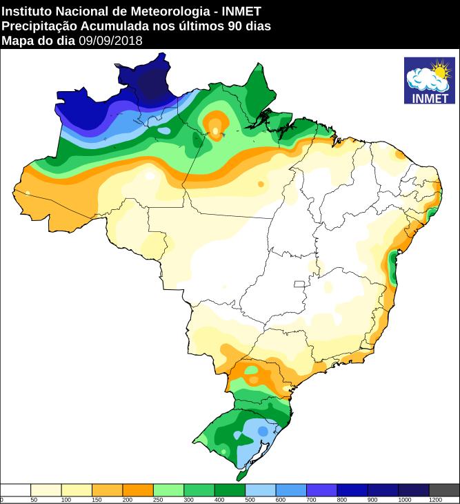 Mapa das áreas com precipitação acumulada nos últimos 90 dias - Fonte: Inmet