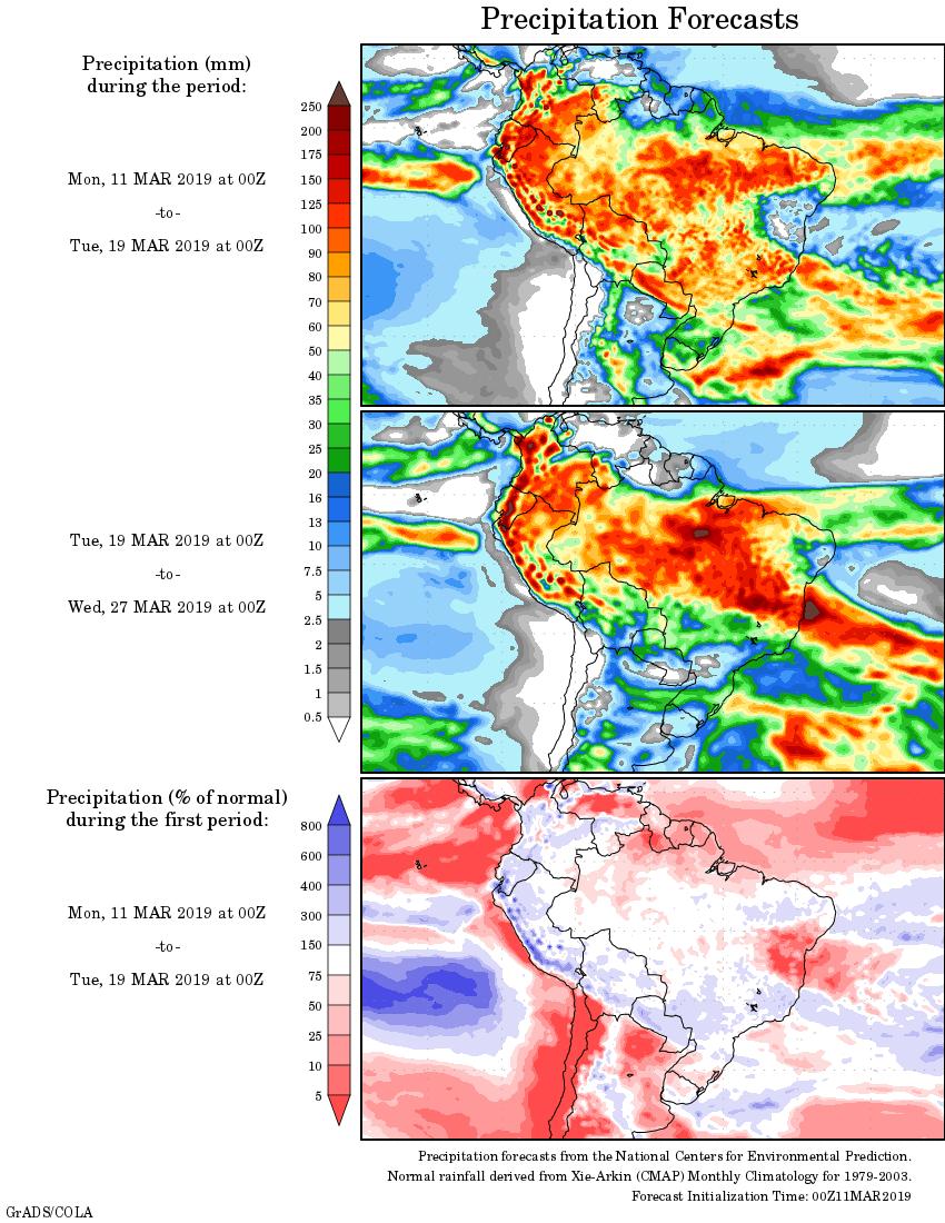 Mapa com a tendência de precipitação acumulada para o período de 11 de março até 27 de março - Fonte: National Centers for Environmental Prediction/NOAA