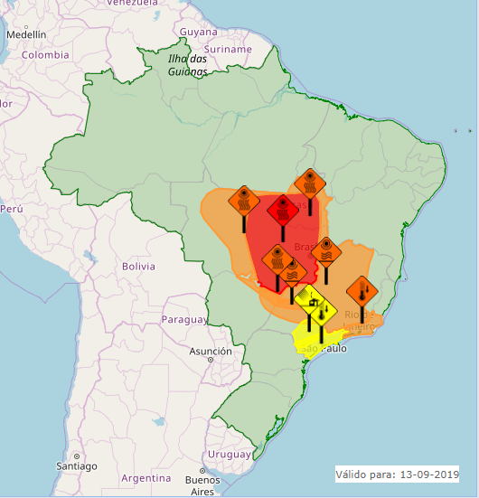 Veja o mapa das áreas com alertas nesta 6ª feira em todo o Brasil - Fonte: Inmet