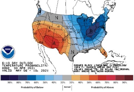 Clima nos EUA - 6 a 10 de maio - Fonte: NOAA