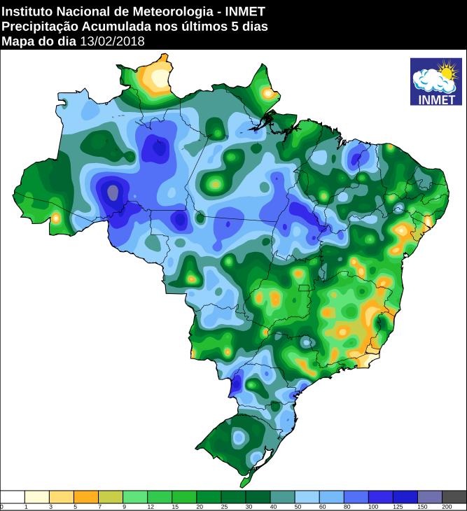 Mapa com a chuva acumulada no Brasil nos últimos cinco dias - Fonte: Inmet