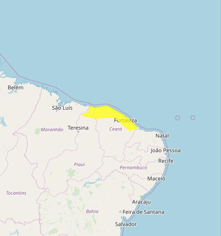 Mapa das áreas com alerta de chuvas intensas nesta 4ª feira - Fonte: Inmet