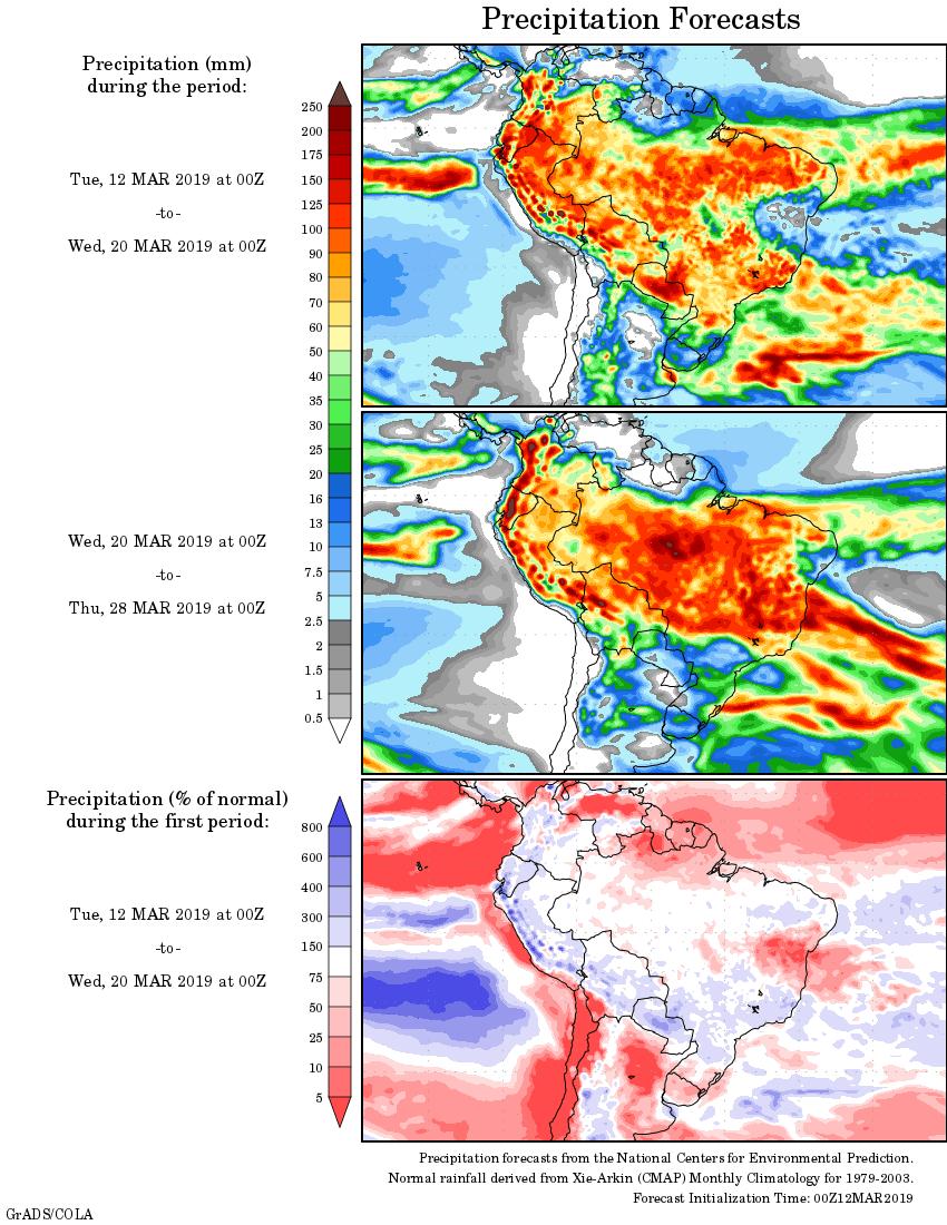 Mapa com a tendência de precipitação acumulada para o período de 12 de março até 28 de março - Fonte: National Centers for Environmental Prediction/NOAA
