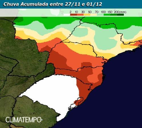 Chuvas acumuladas de 27/11 a 01/12 no Brasil - Climtampo