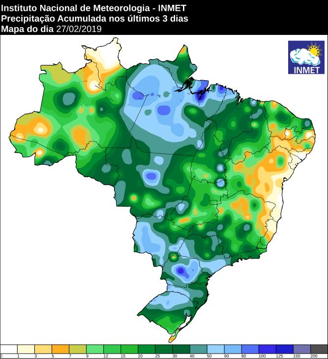 Mapa de precipitação acumulada nos últimos 3 dias em todo o país - Fonte: Inmet