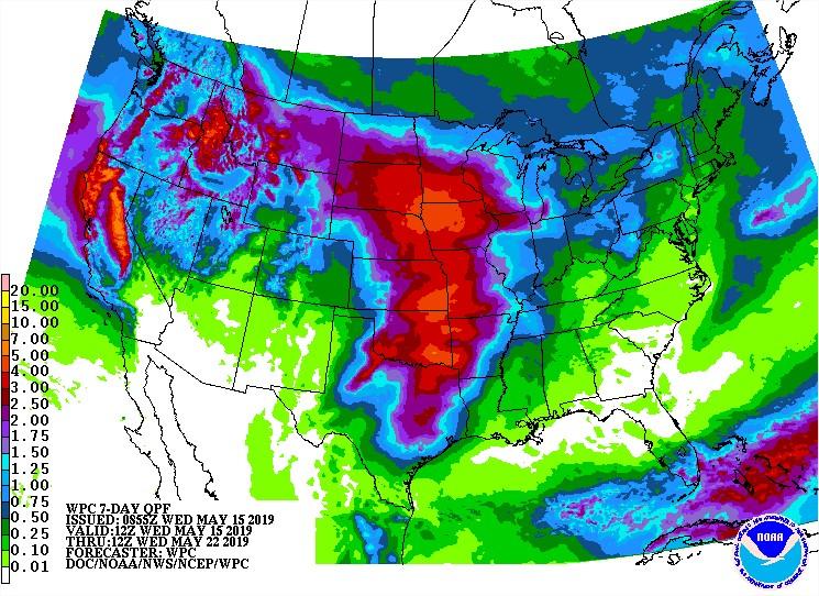 Chuvas EUA 7 dias