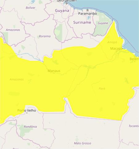 Mapa das áreas com alerta de acumulado de chuva nesta 2ª - Fonte: Inmet