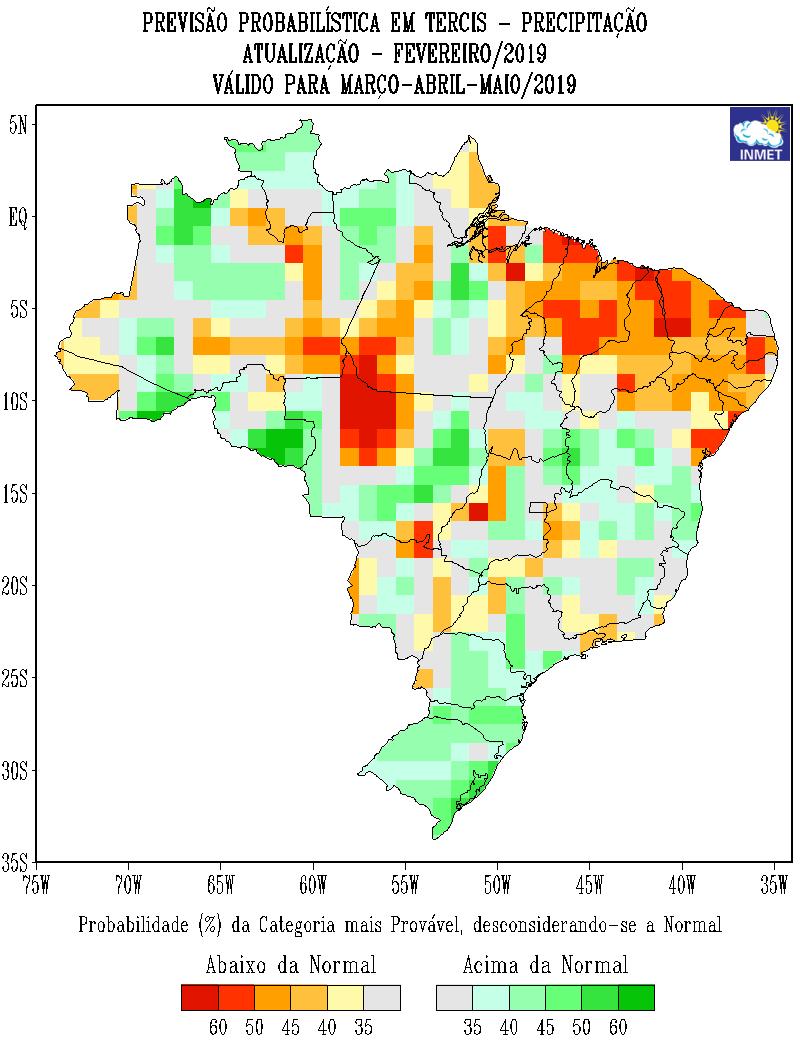 Mapa de previsão probabilística de precipitação em março, abril e maio - Fonte: Inmet
