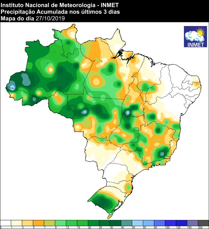 Mapa de precipitação acumulada dos últimos 3 dias em todo o Brasil - Fonte: Inmet