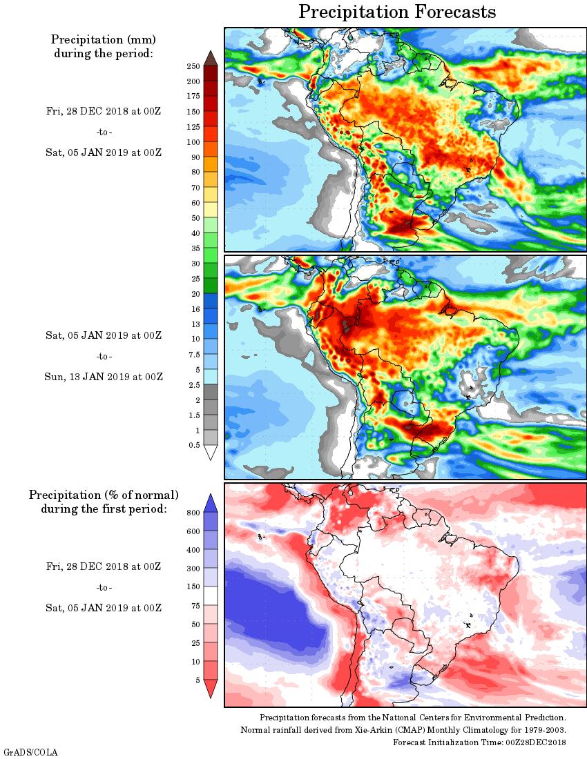 Mapa com a tendência de precipitação acumulada para o período de 28 de dezembro até 13 de janeiro - Fonte: National Centers for Environmental Prediction/NOAA