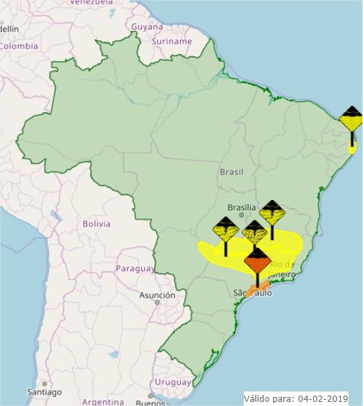 Mapa das áreas com alerta de condição adversa no Brasil nesta 2ª feira - Fonte: Inmet