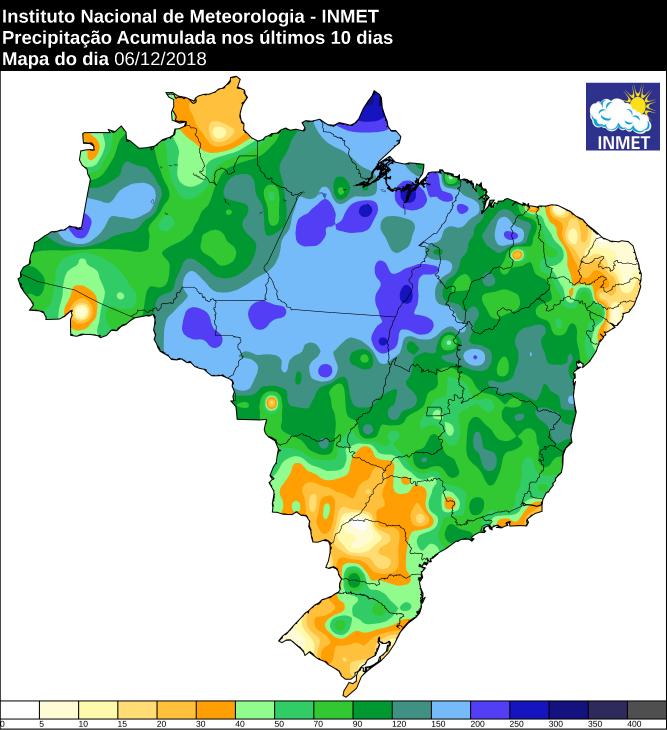 Mapa de precipitação acumulada dos últimos 10 dias em todo o Brasil - Fonte: Inmet