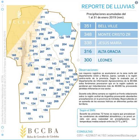 Chuvas na província de Córdoba (Fonte: Agrovoz.com.ar)