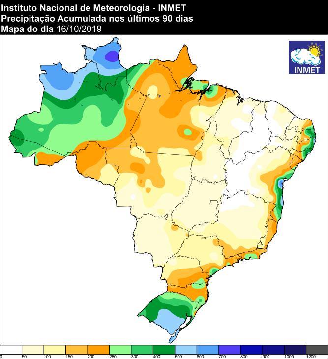 Mapa das áreas com acumulado de chuva nos últimos 90 dias - Fonte: Inmet