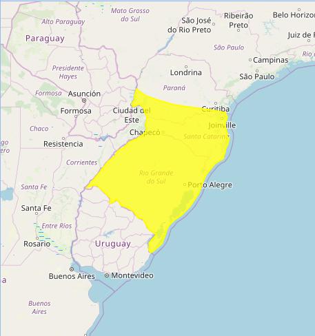 Mapa das áreas com alerta de tempestade nesta 6ª feira: Fonte: Inmet