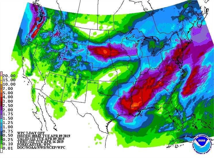 EUA - Chuvas 5 dias