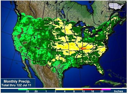 Acumulado mensal de chuvas nos EUA - Fonte: AgWeb