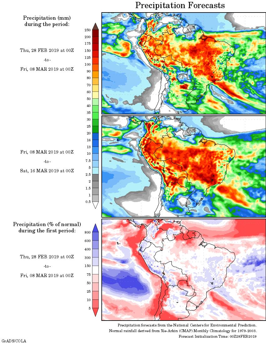 Mapa com a tendência de precipitação acumulada para o período de 28 de fevereiro até 16 de março - Fonte: National Centers for Environmental Prediction/NOAA