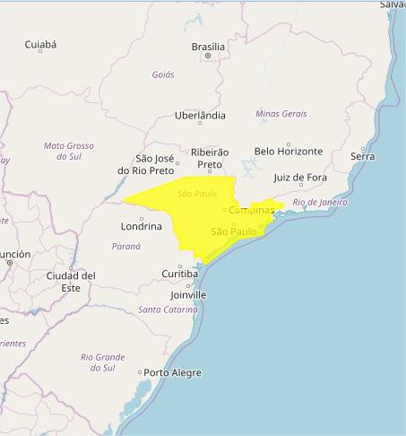 Mapa das áreas com previsão de tempestades nesta 4ª feira - Fonte: Inmet